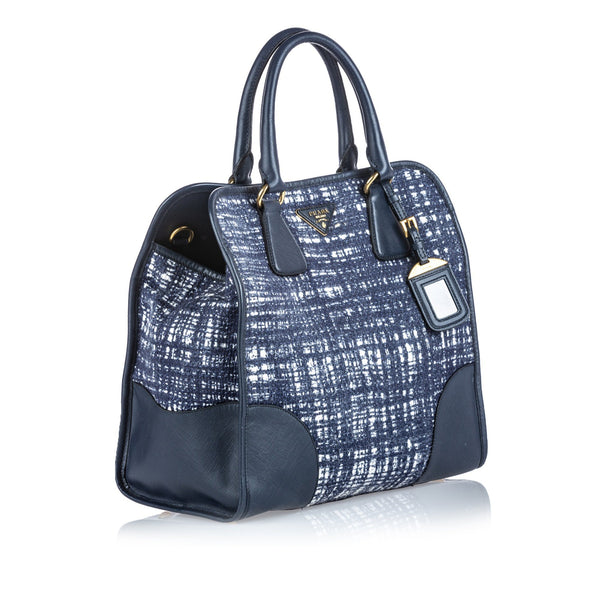 Prada Large Navy And Blue Tweed Satchel With Strap