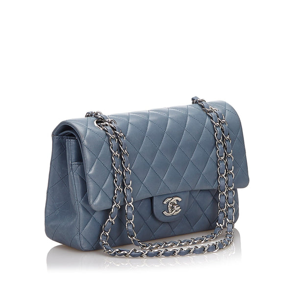 Chanel Classic Medium Lambskin Grey/Blue Double Flap Bag 2012-2013