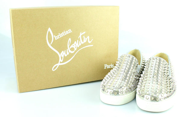 Christian Louboutin Roller Boat Spiked Metallic Textured-Leather Slip-On Sneakers EUR 36.5 UK 3.5