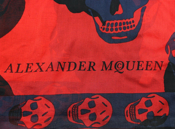 Alexander McQueen Red/Blue/Black Silk Scull Scarf (2)