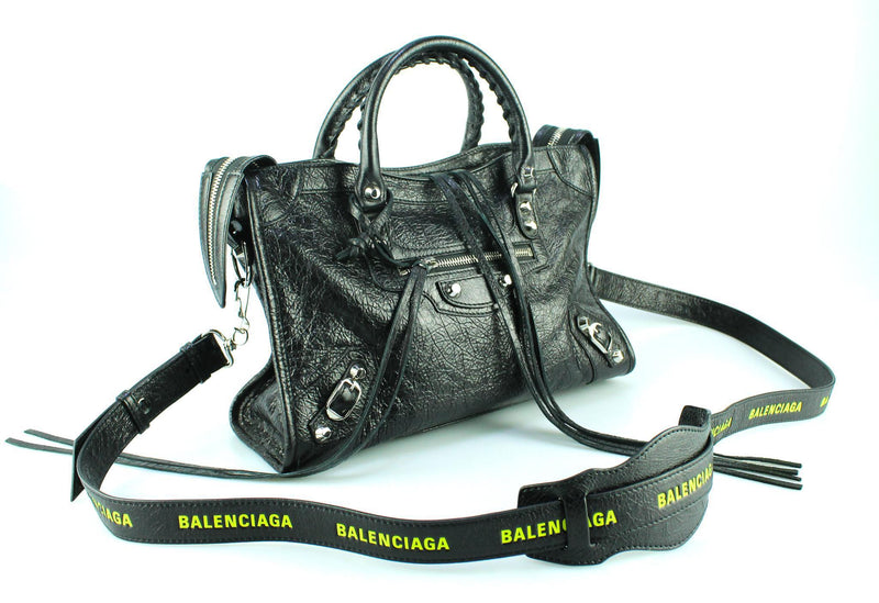 Balenciaga City S Logo Strap Black Paris Neon Edition