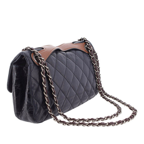 Chanel 2010 Seasonal Navy Quilted And Shiny Calf Leather Flap Bag