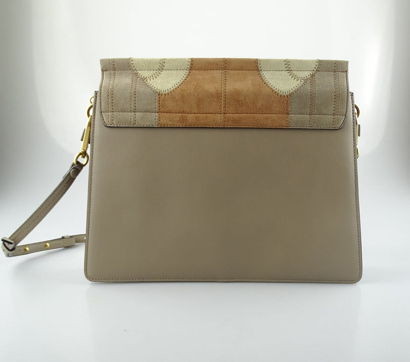 Chloe Faye Medium Suede And Leather Patchwork