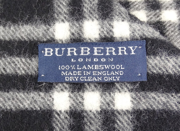 Burberry Lambswool House Check Black/White Wide Scarf