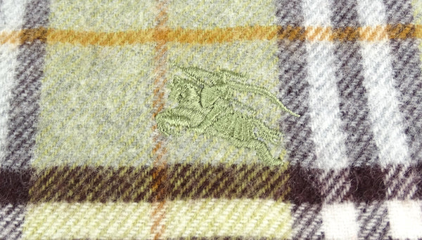 Burberry Lambswool/Merino/Cashmere House Check Green Wide Scarf