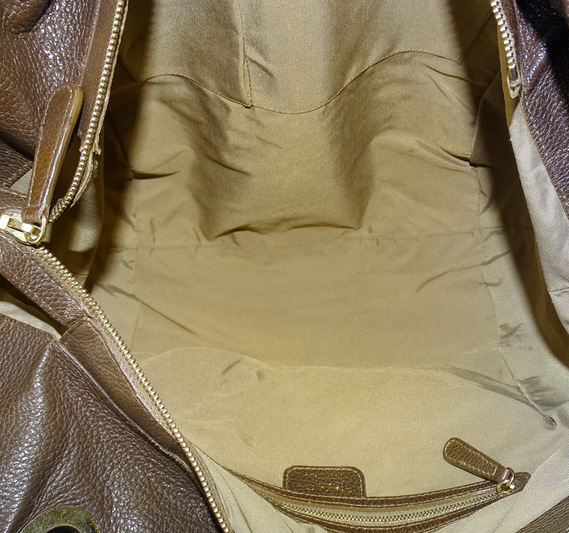 Christian Dior Cannage and Pebbled Leather Brown Bee Tote