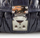 Miu Miu Charcoal Gauffre Leather Satchel Navy
