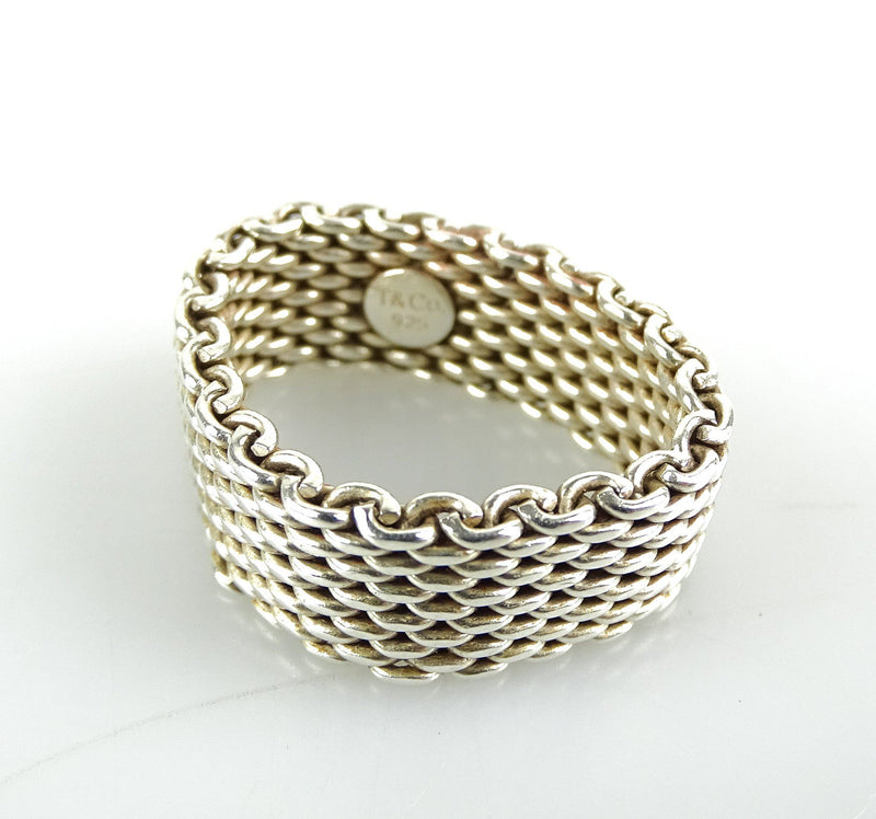 Tiffany & Co Large Somerset Mesh Ring Sterling Silver