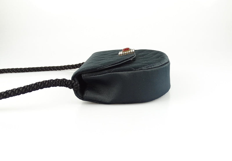 Chanel Evening Bag Satin Rope Black