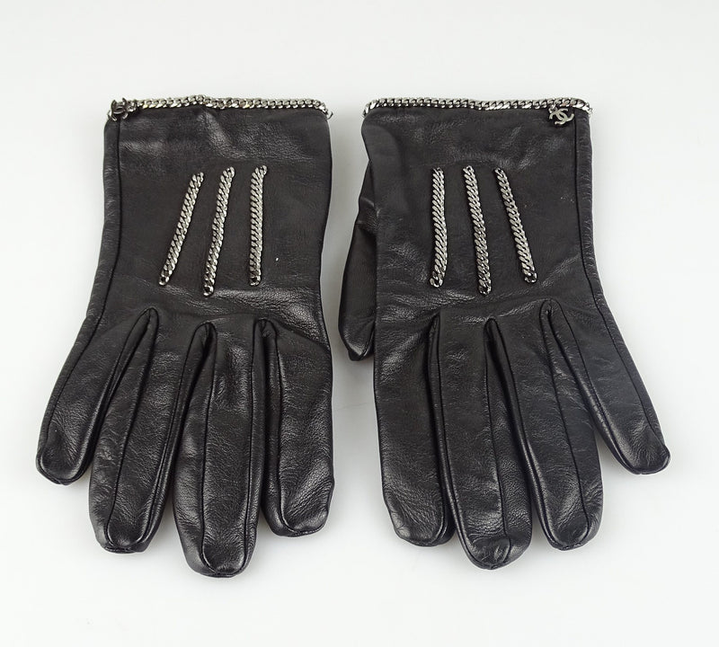 Chanel 6.5 Lamb Leather Chain Gloves
