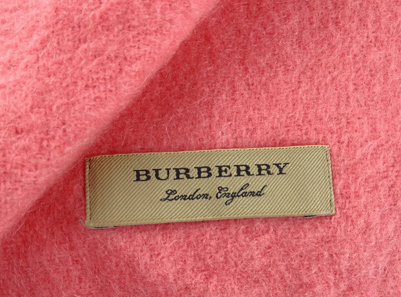 Burberry Pink Logo Embroidered Cashmere Fleece Scarf