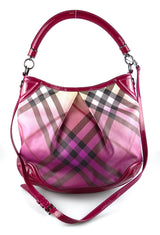 Burberry Ombre Check Hobo With Patent Leather Trim