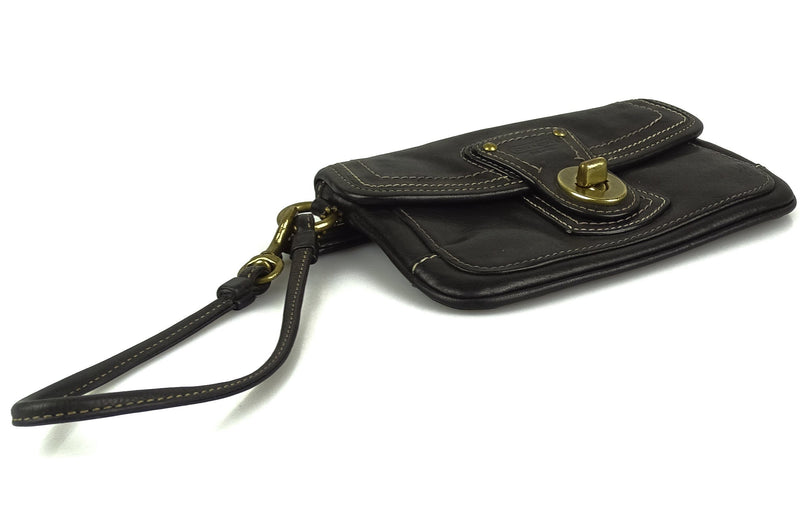 Coach Small Dark Brown Leather Turnlock Wristlet