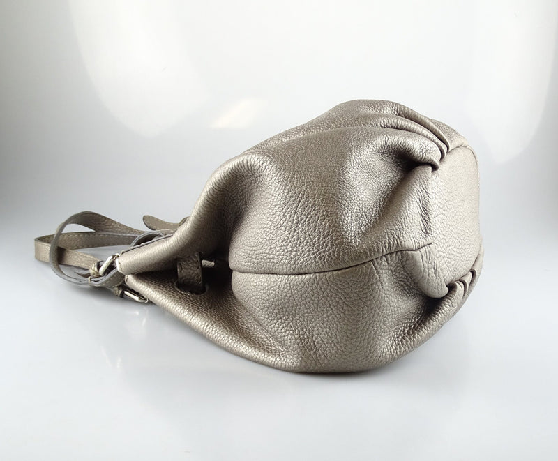 Fendi Selleria Pomodarino Metallic Silver Shoulder Bag