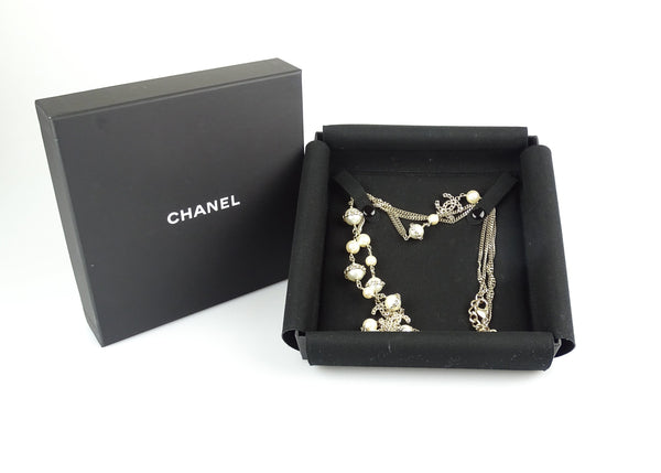 Chanel 2017V Ornate Gold Chain C Detail With Gradient Costume Pearl Necklace