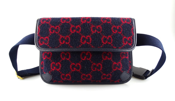 Gucci Wool Bum Bag Navy & Red