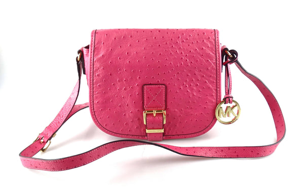 Michael Kors Pink Ostrich Embossed Saddle Bag (2)