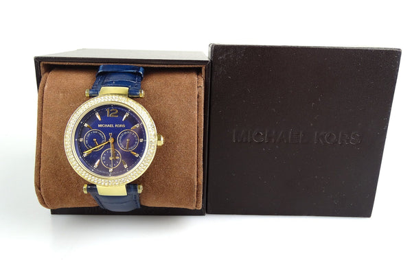 Michael Kors Parker Watch With Blue Leather Strap MK2545 (Missing One Stone)
