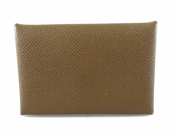 Hermes Calvi Verso Card Holder Epson Taupe Leather (C No Square 2018)