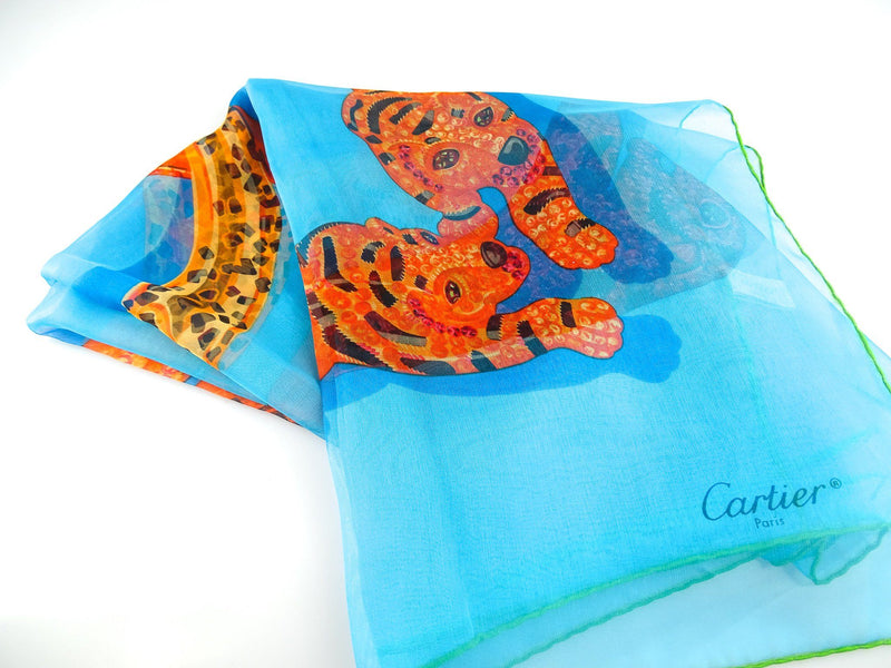 Cartier Light Silk Tiger Detail Scarf 90cm x 90cm