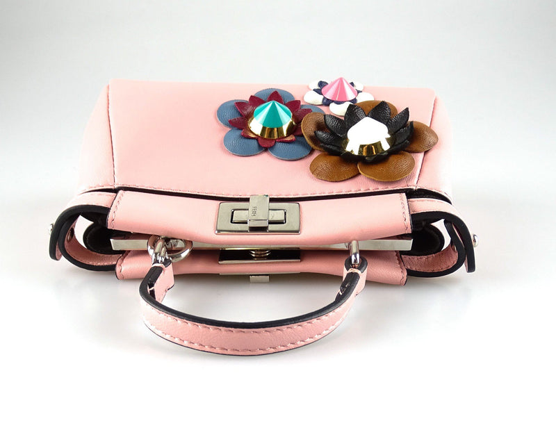 Fendi Micro Peekaboo Nappa Bubblegum Leather With Flowers