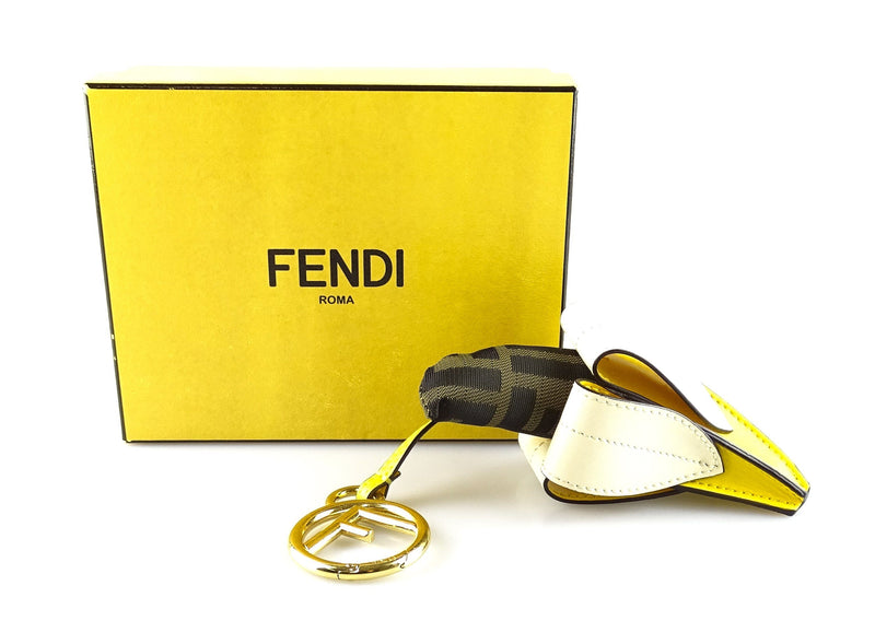 Fendi Banana Charm Zucca Canvas And Yellow Leather
