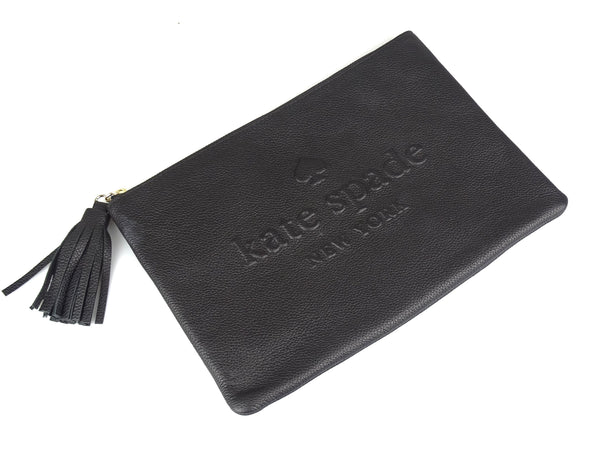 Kate Spade Black Leather Logo Embossed Pouch With Tassel