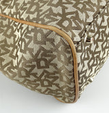 DKNY Monogram Canvas With Brown Leather Trim Tote