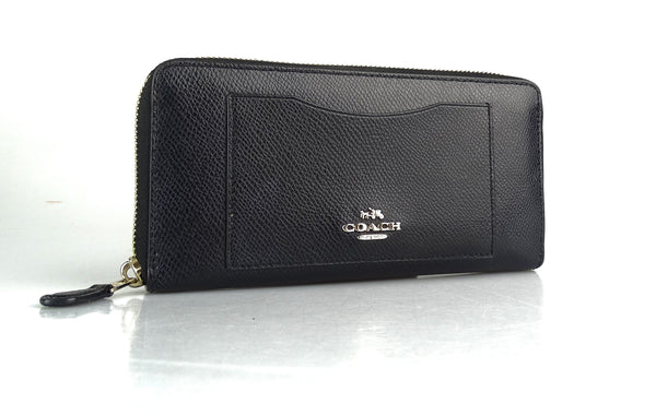 Coach Long Zip Wallet Black Grained Leather GH