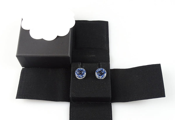 Chanel Blue Tweed CC Resin Stud Earrings