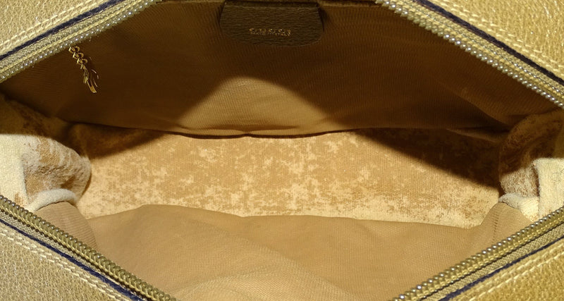 Gucci Vintage Camera Bag Gold GG With Matching French Purse