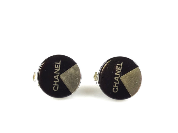 Chanel clip On Logo Disc Earrings