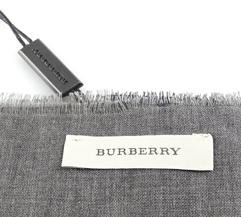 Burberry Wool Silk Gauze Giant Exploded Check Scarf Charcoal