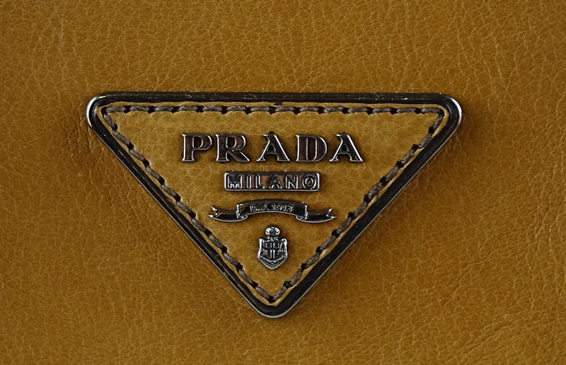 Prada Double Zip Lux Tote Tan Leather SH