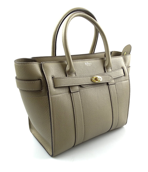 Mulberry Solid Grey Small Zipped Bayswater