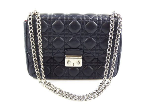 Dior Cannage Large Navy Miss Dior Flap Chain Bag