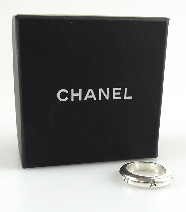 Chanel Sterling Silver Logo Thin Ring Small