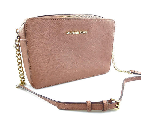 Michael Kors Jet Set Chain Cross Body In Dusty Pink Saffiano Leather GH