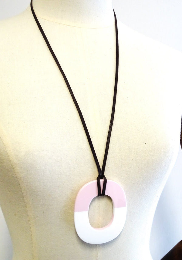Hermes Buffalo Horn Lift Pendant On Rope Pink/White