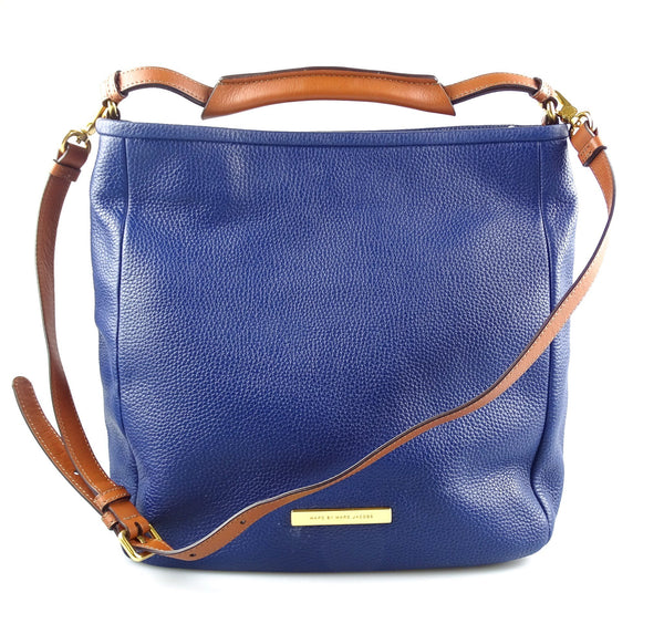 Marc By Marc Jacobs Shoulder Softy Large Saddle Dark Blue Leather Hobo Bag