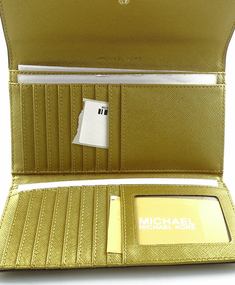 Michael Kors Metallic Gold Flap Continental Wallet