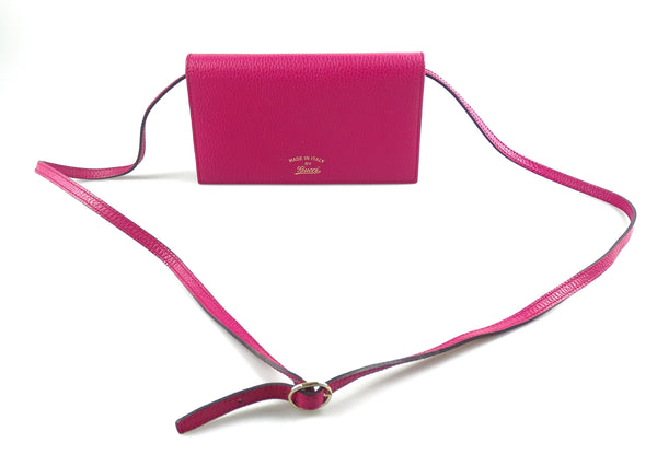 Gucci Wallet On Strap In Hot Pink Leather