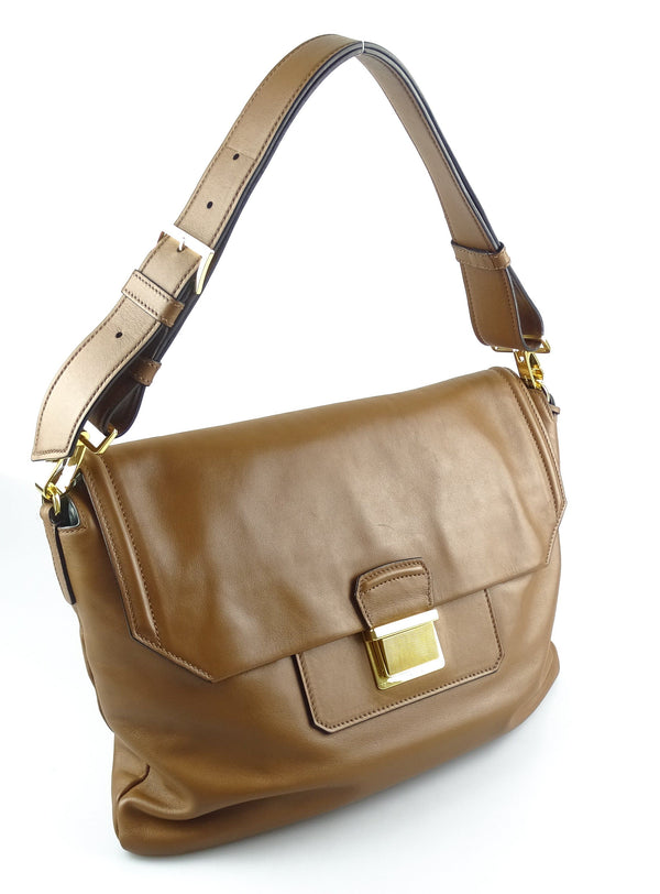 Miu Miu Nappa Soft Tan Leather East West Shoulder Bag