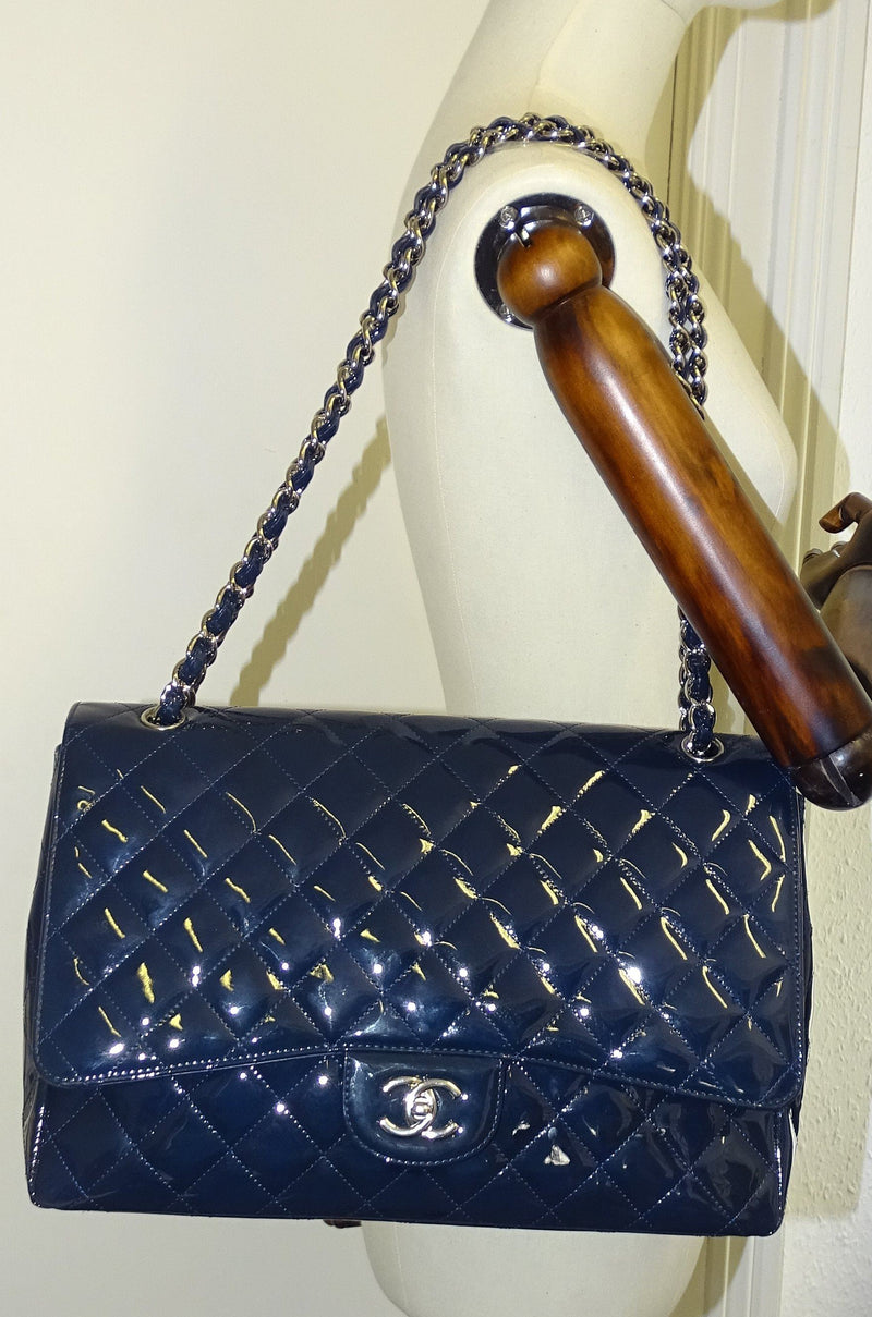 Chanel Maxi Single Flap Navy Patent Leather SH 13303872