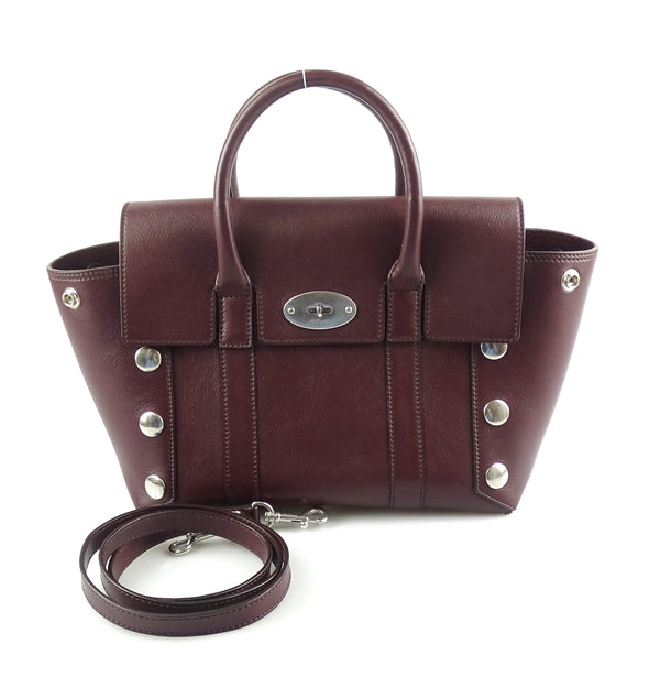 Mulberry Small Bayswater Satchel Smooth Calf Oxblood With Studs
