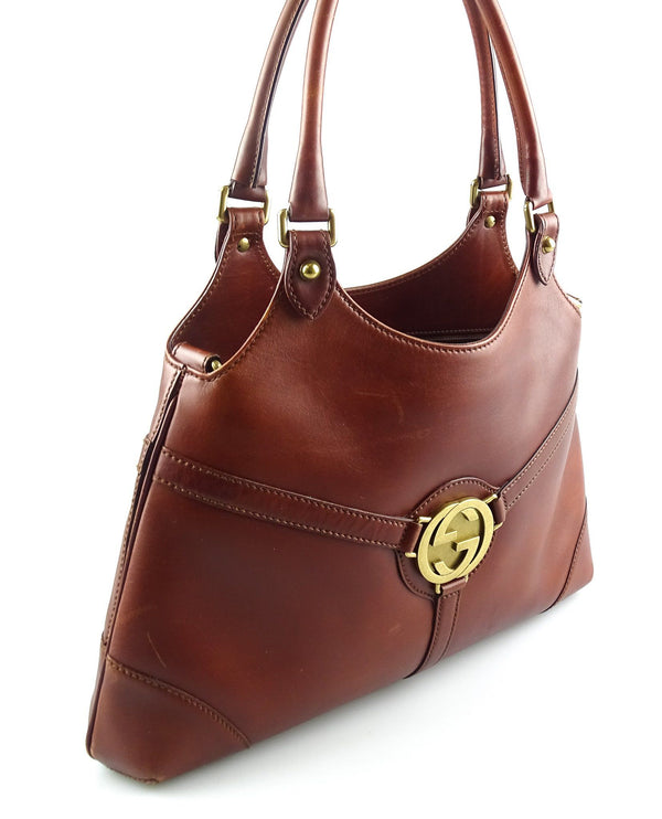 Gucci Dark Tan Leather Smooth Reins Shoulder Bag (No Strap)