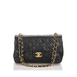 Chanel Vintage Classic Small Lambskin Leather Double Flap Bag