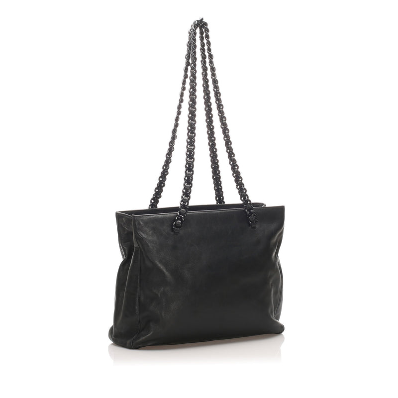 Chain Leather Tote Bag Image# 2