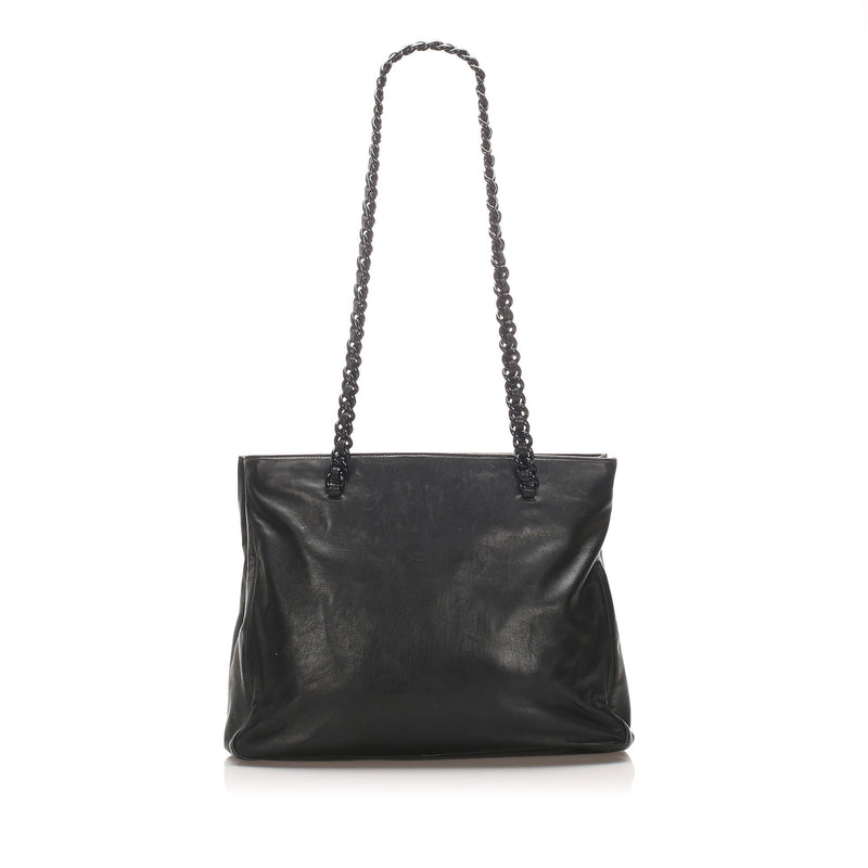 Chain Leather Tote Bag Image# 3