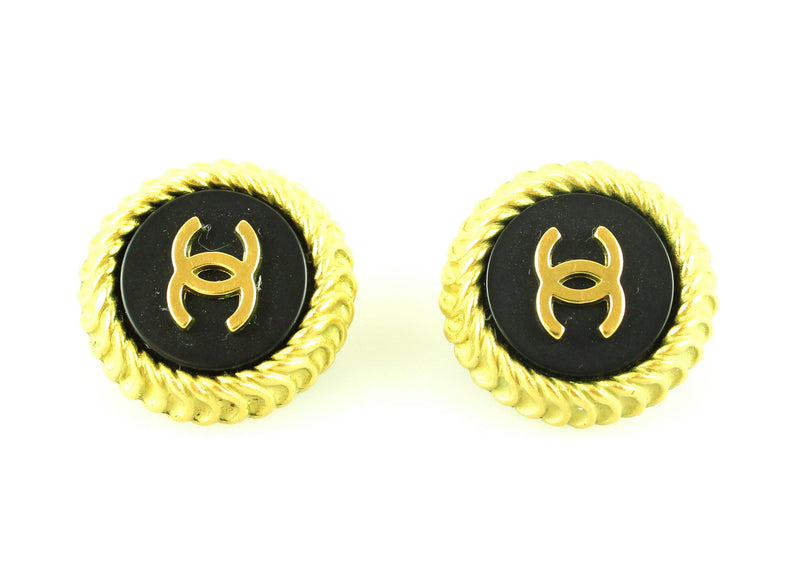 Chanel Vintage 1995 CC Goldtone Clip On Earrings
